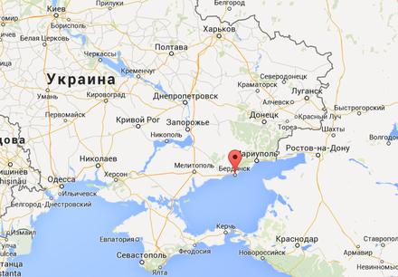 Город Бердянск на карте Украины