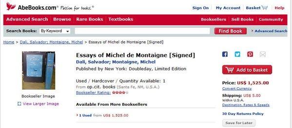 Книга с автографом Дали продается за 1 525 долларов
